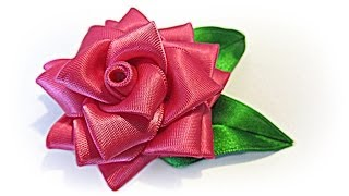 getlinkyoutube.com-Como hacer una Rosa de cinta. Ribbon rose.