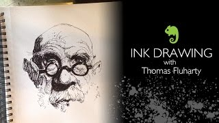 getlinkyoutube.com-Thomas Fluharty drawing with Pen and Ink