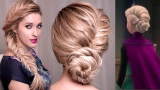 getlinkyoutube.com-Frozen's Elsa hairstyle tutorial for long hair: UPDO, BRAID hairstyles for long hair