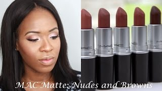 getlinkyoutube.com-MAC Matte Nude and Brown Lipstick Swatches | WOC Friendly