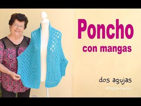 Poncho abierto con mangas en tejido recto a dos agujas (S, M y L) / Tejiendo Perú
