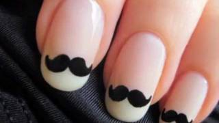 Movember Moustache Nails ? Products Used ? Sally Hansen Diamond Strength Hardener ? Deborah Lippmann Sarah Smile ? OPI Black Onyx ? Essie Good To Go Top Coat