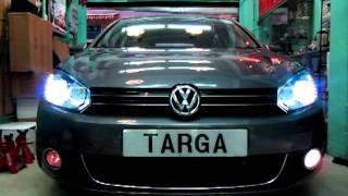 getlinkyoutube.com-Genuine VW GTI DRL LED headlight installed on Golf GT