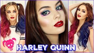 getlinkyoutube.com-Harley Quinn Makeup & Hair Tutorial | Suicide Squad