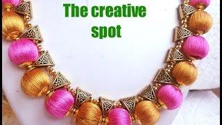 getlinkyoutube.com-Silk thread Bail necklace-perfect finish | Tutorial !!!!!