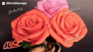 getlinkyoutube.com-DIY How to make Crepe Paper Rose Flower |  JK Arts 377