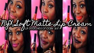 getlinkyoutube.com-♡ NYX Soft Matte Lip Cream Lip Swatches On Dark Skin ♡