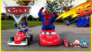 getlinkyoutube.com-Kid Car Race POWER WHEELS Playtime at the Park DISNEY CARS MCQUEEN Spiderman Egg Surprise Toys
