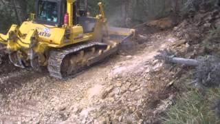 getlinkyoutube.com-komatsu 85 ex, bulldozer, dozer, road construction, forest massacre