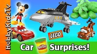 getlinkyoutube.com-Mickey Mouse + Lightning McQueen Play-Doh Surprise Eggs! Disney Planes Siddeley Lego Mater HobbyKids