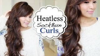 getlinkyoutube.com-Overnight HEATLESS Sock Bun Curls Hair Tutorial