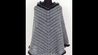 getlinkyoutube.com-Crochet: Poncho con Capucha.  El Cuerpo