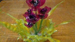 getlinkyoutube.com-Best Out Of Waste Plastic bottles transformed to Lovely Poppy flowers Showpiece