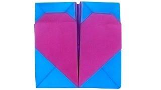 Коробочка оригами с сердечком