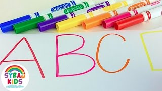Learn English Alphabet Letters Drawing with Crayola Markers   ABC 123   Syraj Kids