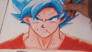 getlinkyoutube.com-Drawing Goku  Super Saiyan Blue | Super Saiyan God Super Saiyan - Resurrección of F (Fukkatsu no F)