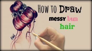 getlinkyoutube.com-Drawing Tutorial ❤ How to draw and color  Messy Bun Hair
