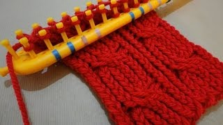 getlinkyoutube.com-How to Loom Knit a Cabled Scarf with a rectangular loom (DIY Tutorial)