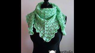 getlinkyoutube.com-How to crochet spring triangle baktus wrap shawl free pattern tutorial by marifu6a