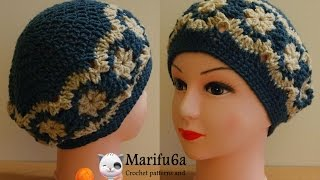getlinkyoutube.com-How to crochet beret hat  with flowers free pattern tutorial