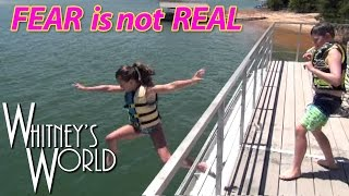 getlinkyoutube.com-Jumping off the Roof Into the Lake | Whitney and Blakely