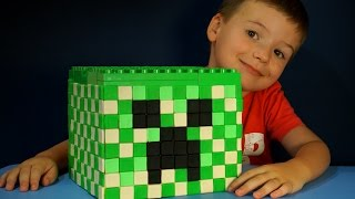 getlinkyoutube.com-Giant Play Doh Lego Minecraft Creeper Head with Surprise Eggs. Игрушки Майнкрафт