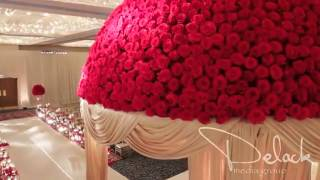 getlinkyoutube.com-Roshni & Palak Red Rose Mandap Indian Wedding Decoration by Yanni Design Studio