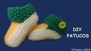 getlinkyoutube.com-botitas o zapatitos de bebé a dos agujas 1a de 2 partes