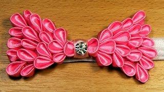 getlinkyoutube.com-DIY: Bow of petals / Бантик из лепестков канзаши