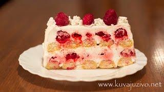 getlinkyoutube.com-Torta sa piskotama i malinama - Vocna torta - Fruit cake-  Gâteau aux fruits
