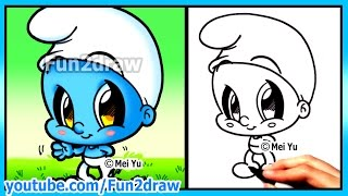 getlinkyoutube.com-How to Draw Cartoons - Smurf + Funny Extra Drawing - Cute Art Fun2draw Chibi