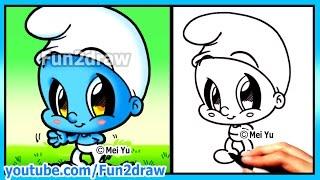 How to Draw Cartoons - Smurf + Funny Extra Drawing - Cute Art Fun2draw Chibi