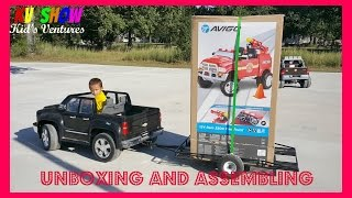 getlinkyoutube.com-4yr Old Kid Hauling, Unboxing And Assembling His New Power Wheels Ride On Dodge Ram 3500 Firetruck!