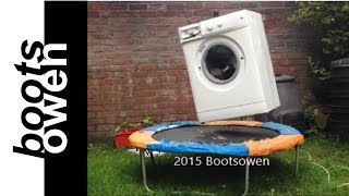 Washing machine brick bouncing on trampoline