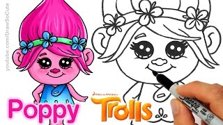 getlinkyoutube.com-How to Draw Poppy from Trolls Movie step by step Cute and Easy