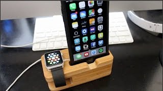 getlinkyoutube.com-Olixar Bamboo Apple Watch and iPhone Stand/Dock Review!