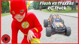 getlinkyoutube.com-Superman vs FLASH vs RC MONSTER TRUCK Traxxas Edition superhero real life movie comic SuperHeroKids