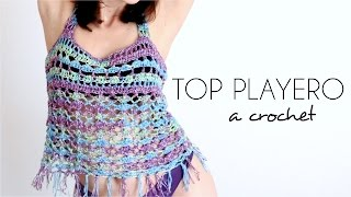 TOP PLAYERO a crochet | BLUSA TEJIDA paso a paso (ENGLISH SUB) - Parte 1/2 AHUYAMA CROCHET