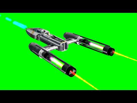 Y-Wing in flight with Lasergun - different views - Star Wars - green screen effects