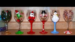 getlinkyoutube.com-DIY: Hand Painted Wine Glasses - CHRISTMAS EDITION  ♡ Theeasydiy #Crafty