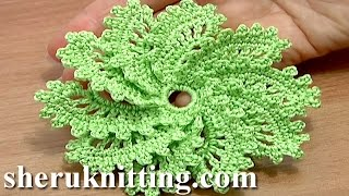 getlinkyoutube.com-How to Crochet Spiral Flower 10 Petals Tutorial 54 virkkaa kukka opetusohjelma