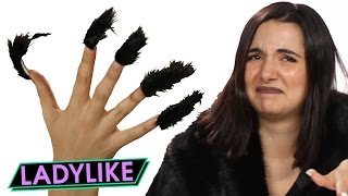 getlinkyoutube.com-Women Try Faux Fur Nails • Ladylike