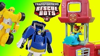 getlinkyoutube.com-Transformers Rescue Bots Griffin Rock Firehouse Headquarters & Bumblebee Chase Heatwave!