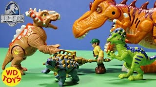getlinkyoutube.com-New JURASSIC WORLD Pachyrhinosaurus vs T-Rex & Ankylosaurus Unbox Review - WD Toys