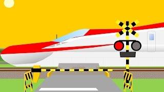 踏切カンカンを通過する新幹線(japanese railroad crossing anime movie)