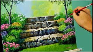 getlinkyoutube.com-Acrylic Landscape Painting Lesson - Stairway to Flower Garden by JMLisondra