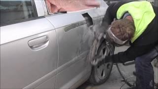getlinkyoutube.com-Audi A3. The rear fender repair. Ремонт заднего крыла.