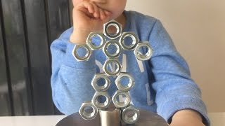 Magnetic Sculpture Activity For Kids with Nuts