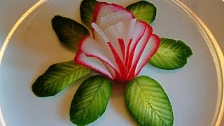 getlinkyoutube.com-HOW TO MAKE FLOWERS  OF RADISHES! LEAVES OF CUCUMBER! CARVING RADISH AND CUCUMBER