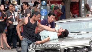 getlinkyoutube.com-Taylor Lautner gets SLAMMED on top of a car while Filming in NYC (06-24-13)
